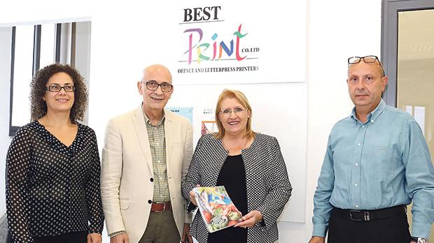 President Marie-Louise Coleiro Preca and her husband Edgar with Bestprint directors Mario and Mary Rose Abela at the cookery book's launch.
