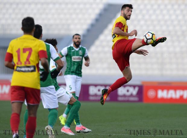 Birkirkara's Luke Montebello connects with the ball during their BOV Premier League match against Floriana at the National Stadium in Ta'Qali on December 17. Photo: Matthew Mirabelli