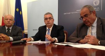 Michael Falzon addressing the news conference.