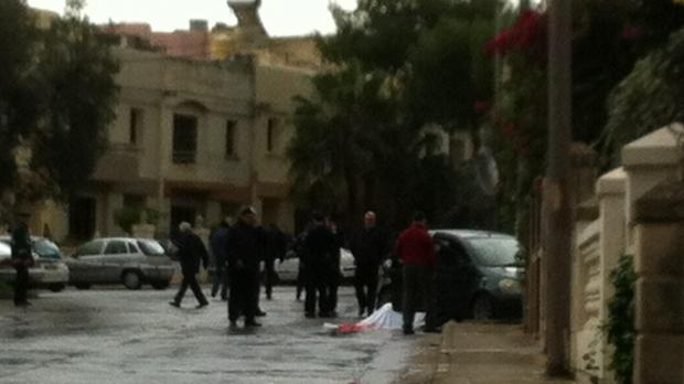 The Mosta murder scene this morning.