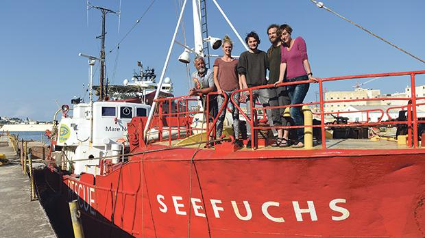 Carlotta Weibl, second left, and Maike Jaeger, far right, with the rest of crew of the Seefuchs. Photo: Matthew Mirabelli