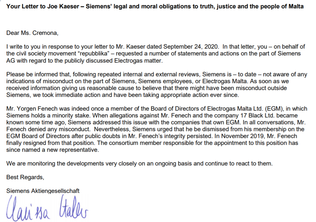 The letter sent by Siemens in response to concerns about the power station project raised by Repubblika.