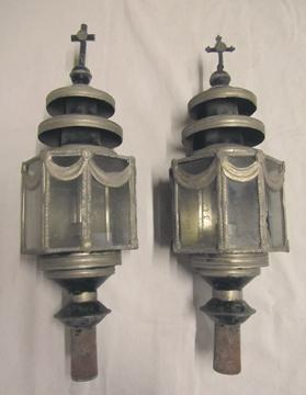 Lanterns from a funerary hearse.