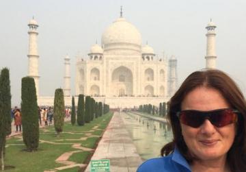 Maria outside the Taj Mahal.