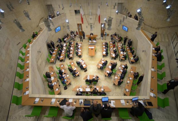 The first parliamentary session gets underway at the new Parliament at City Gate, Valletta on May 4. Photo: Matthew Mirabelli