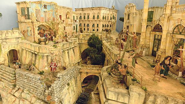 The Maltese-themed crib is set among various popular Valletta landmarks. Photos: Matthew Mirabelli