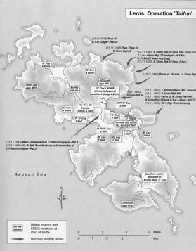 Map of Operation Taifun (Typhoon), the German landings on the island of Leros.
