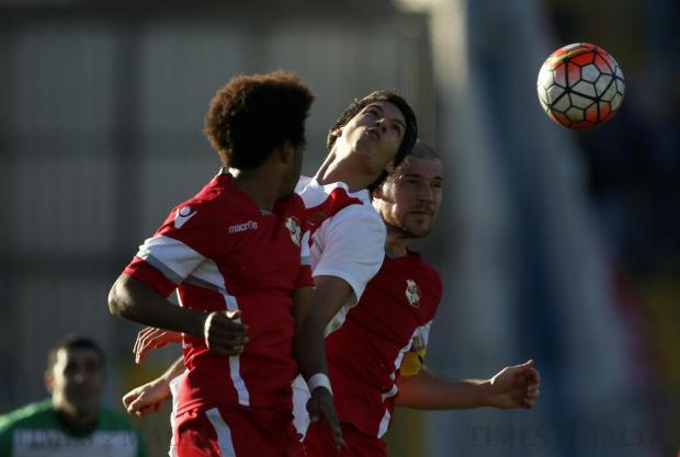 Valletta's Federico Falcone (centre) and Naxxar Lions' Ennio Hamutenya (left) and Angus Buhagiar (right) jump for a high ball during their their Premier League football match at the National Stadium in Ta' Qali on January 10. Photo: Darrin Zammit Lupi