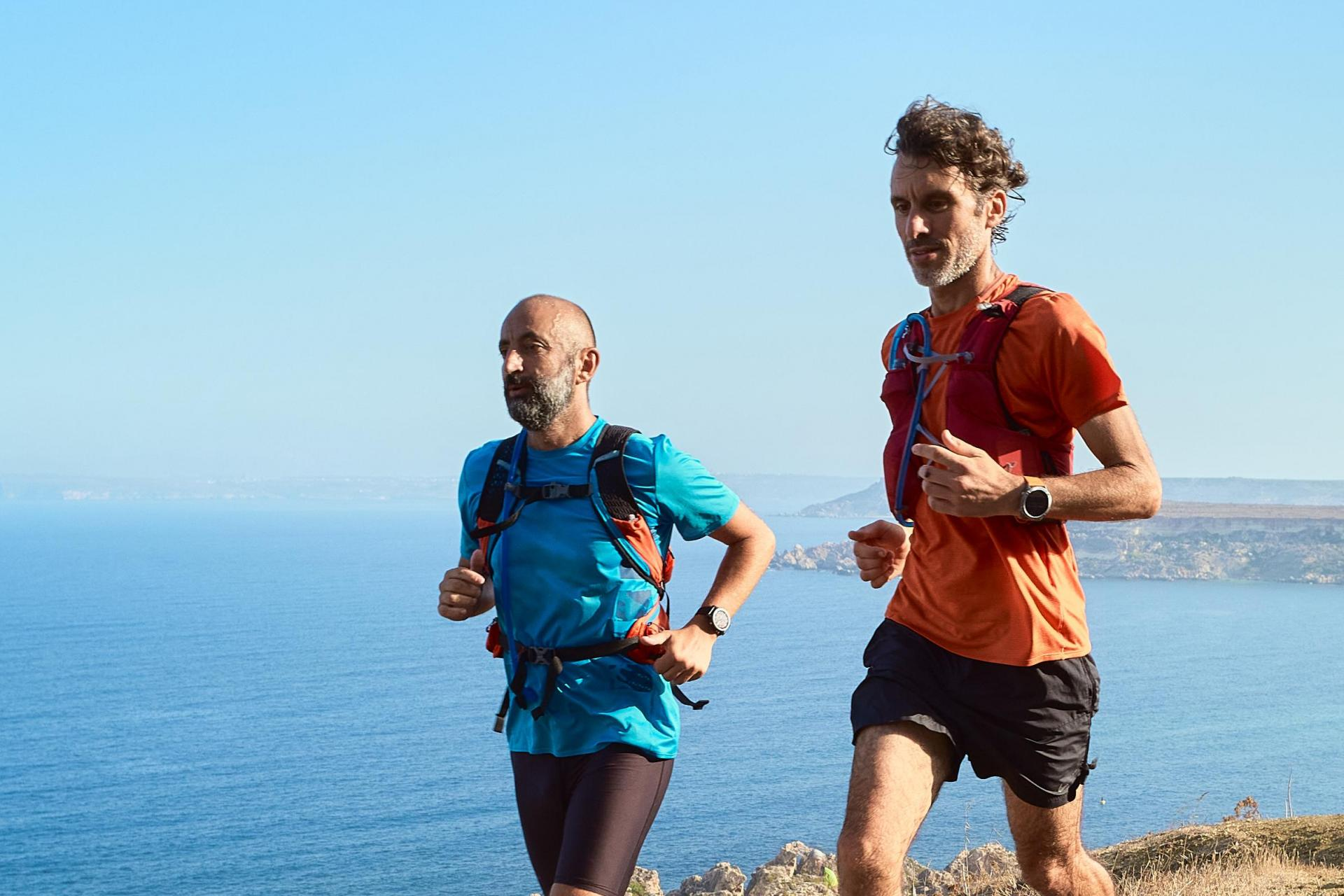 Patrick Tabone and Claudio Camilleri training for their 190km run