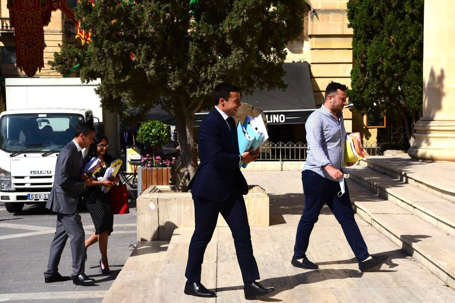 Charles Merceica (centre) part of the defence team of Yorgen Fenech who is accused of conspiring to kill Daphne Caruana Galizia. Photo: Mark Zammit Cordina/Facebook