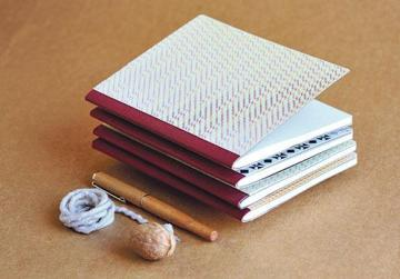 Single-section mini-notebooks with a cloth spine and patterned paper covers.
