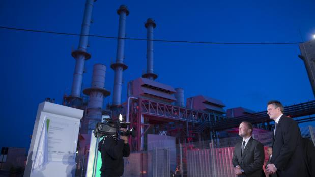 Former Prime Minister Joseph Muscat inaugurating the Electrogas power station with Konrad Mizzi in April 2017.