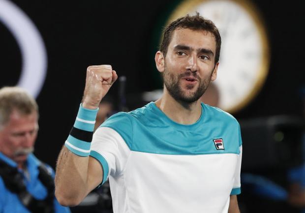 Marin Cilic celebrates his victory over Rafa Nadal.