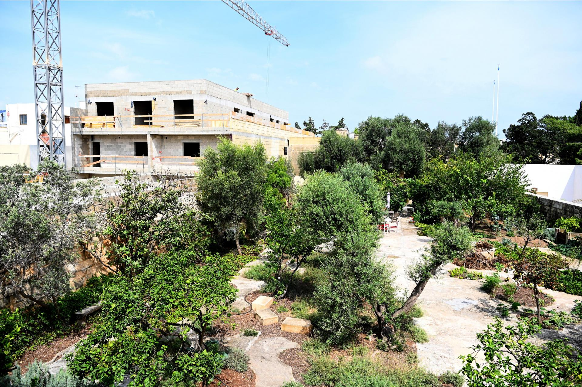 The four-storey development, as viewed from the grounds of the villa in Tarxien. Photo: Mark Zammit Cordina