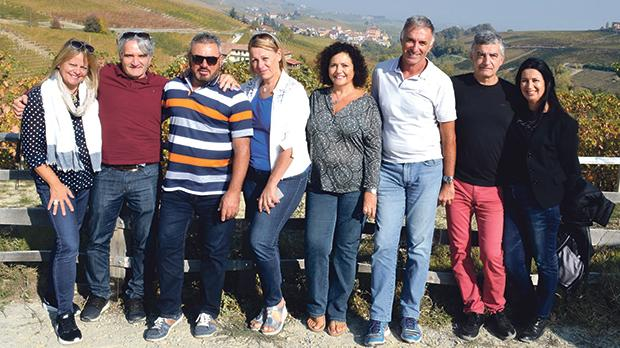 Robert and Anna with a group of friends amid the vines near Barolo.
