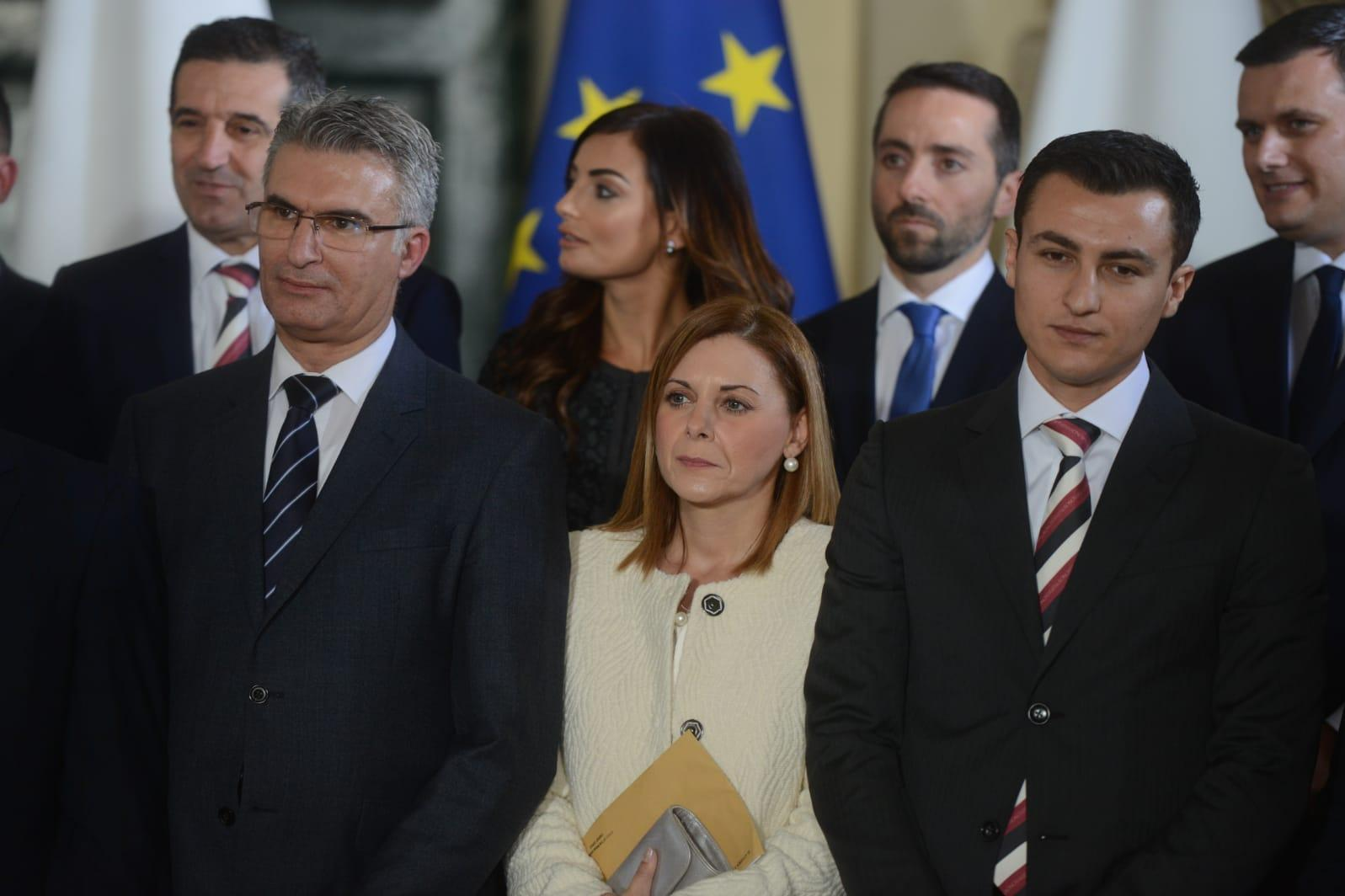 Justyne Caruana, centre, during last week's swearing-in ceremony. Photo: Jonathan Borg