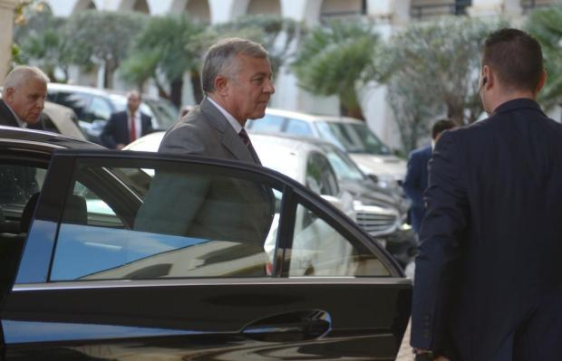 Nouri Abusahmain, president of the Tripoli-based General National Council, arrives at the Excelsior Hotel in Floriana ahead of his meeting with Aguila Saleh Issa, president of the House of Representatives in Tobruk. on December 15. Photo: Matthew Mirabelli