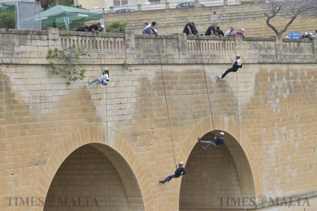 Members of the Mosta Scout Group abseil from Mosta bridge during a fund-raising activity for Id-Dar tal-Providenza on November 19. Photo: Mark Zammit Cordina