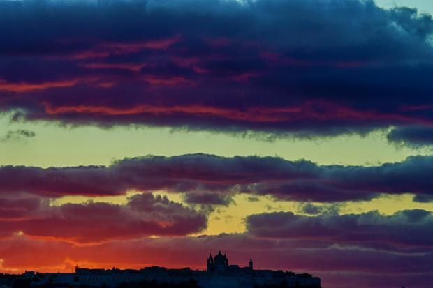 The sun sets over Mdina. on October 7. Photo: Jonathan Borg