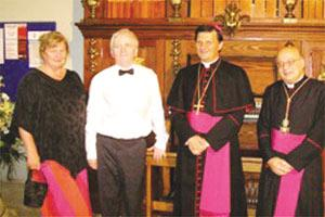 Pennie Kennedy, Dr Richard Vendome, Bishop Mario Grech and archpriest Mgr Dr Joseph Farrugia during the inauguration of the pipe organ at St George`s Basilica, Victoria