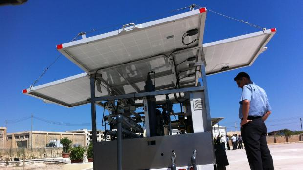 The mobile water polishing plant which is taken to fields.