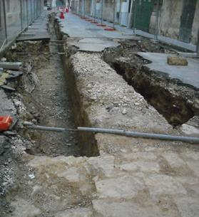 The bakeries' foundations in Strait Street. Photo: Denis Darmanin