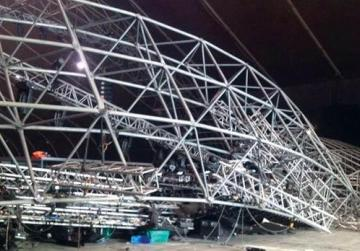 The collapsed lighting structure on the MFCC stage.
