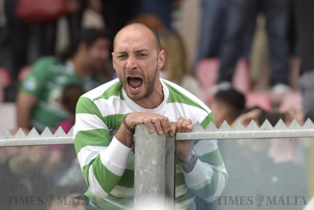 A Floriana supporter shouts out with joy after his team beat Valletta in their Premier League derby match at the National Stadium in Ta'Qali on April 9. Photo: Mark Zammit Cordina