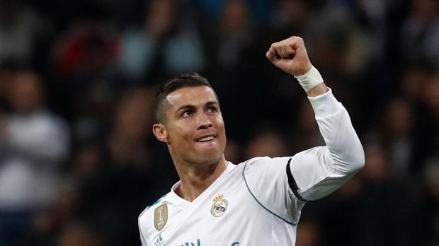 Real Madrid's Cristiano Ronaldo celebrates scoring their second goal.