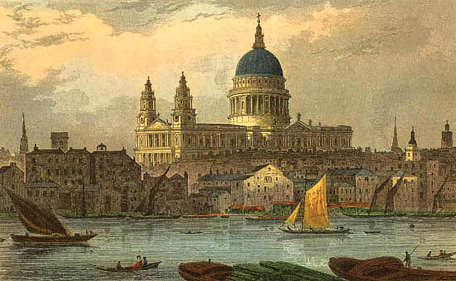 A 19th-century coloured engraving of St Paul's Cathedral by Thomas Hosmer Shepherd.