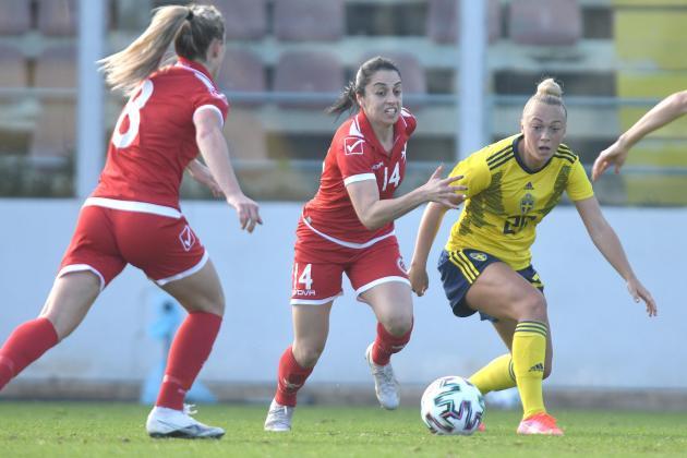 Malta women go down fighting against Sweden