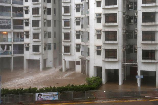 High waves hit the shore at Heng Fa Chuen, a residental district in Hong Kong.