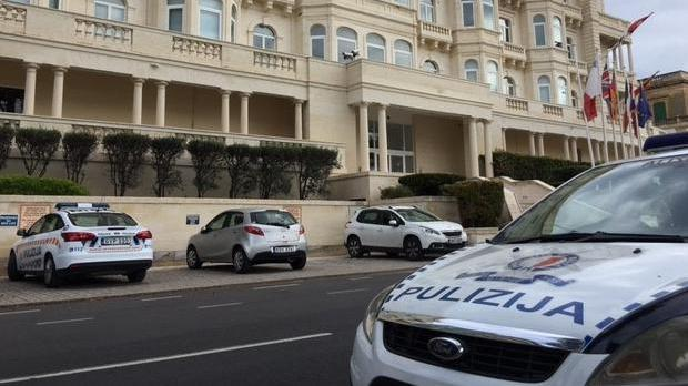 Police cars parked outside the bank's Ta' Xbiex offices. Photo: Matthew Mirabelli