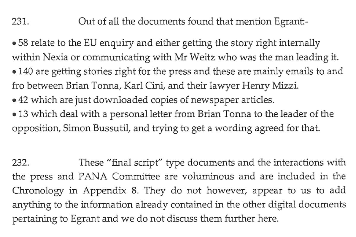 An excerpt from the inquiry detailing Brian Tonna's Egrant script.