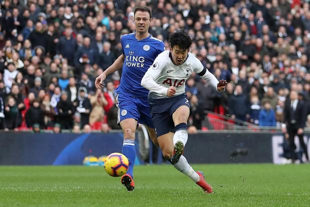 Tottenham's Heung Min Son (center) scored the team's third goal in their game against Leicester.