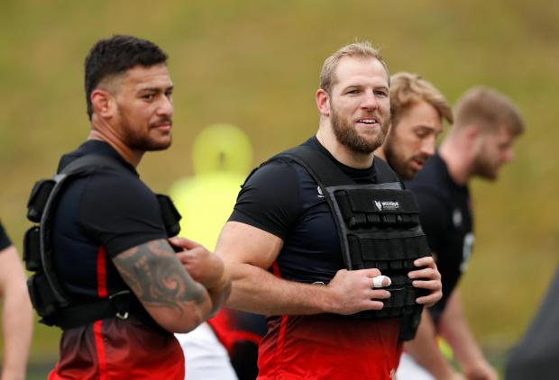 England's James Haskell with team mates during training.