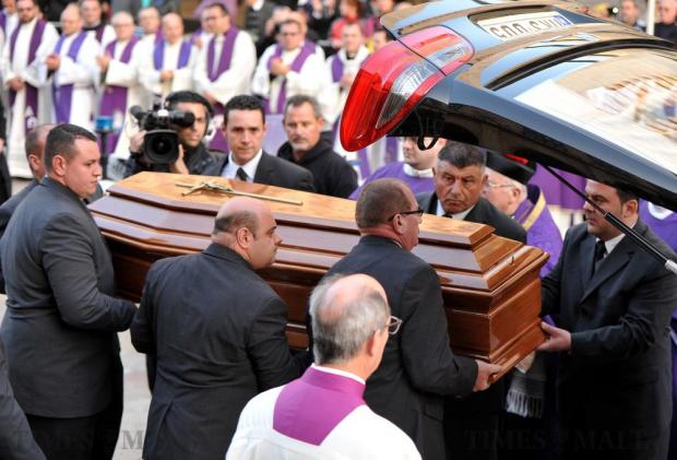 The coffin of Archbishop Emeritus Joseph Mercieca is in a waiting hearse in Valletta on March 23. Photo: Chris Sant Fournier