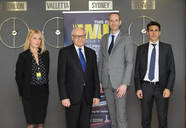 From left: country manager Jenny Pace, Finance Minister Edward Scicluna, vice-president southern Europe Frederic Simon, director southern Europe Christian Traversini.