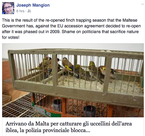 Former Birdlife Malta president Joseph Mangion made his arguments on Facebook.