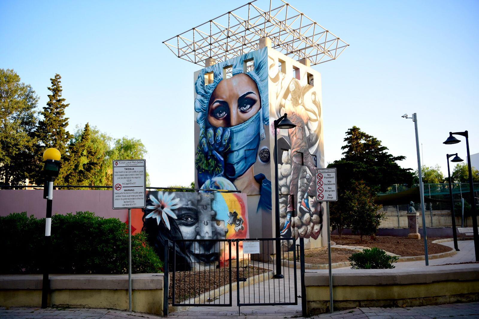 A mural in Żabbar playground in tribute to frontliners, many of whom have been diagnosed with coronavirus. Photo: Mark Zammit Cordina