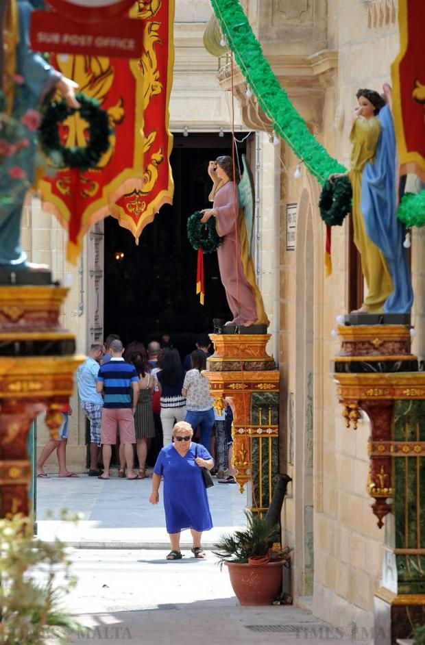 A street decorated for the Santa Marija feast in Mqabba is seen shortly before the traditional band March on August 15. Photo: Chris Sant Fornier