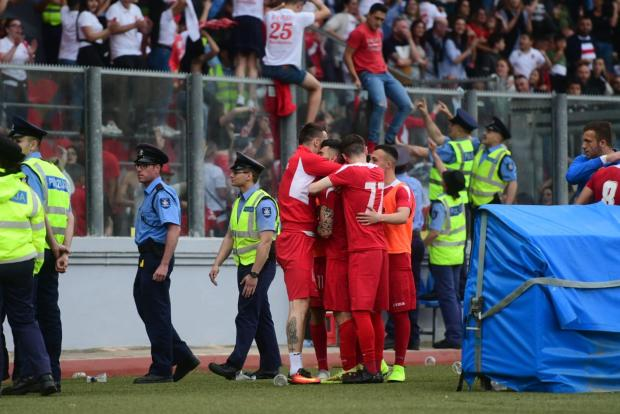 Mario Fontanella is mobbed by his team-mates after putting Valletta ahead. Photo: Jonathan Borg