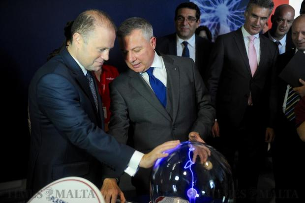 Prime Minister Joseph Muscat and Jeffrey Pullicino Orlando, chairman of the Malta Council for Science and Technology, check on one of the new displays for school children during the Esplora Opening in Kalkara on October 29. Photo: Steve Zammit Lupi