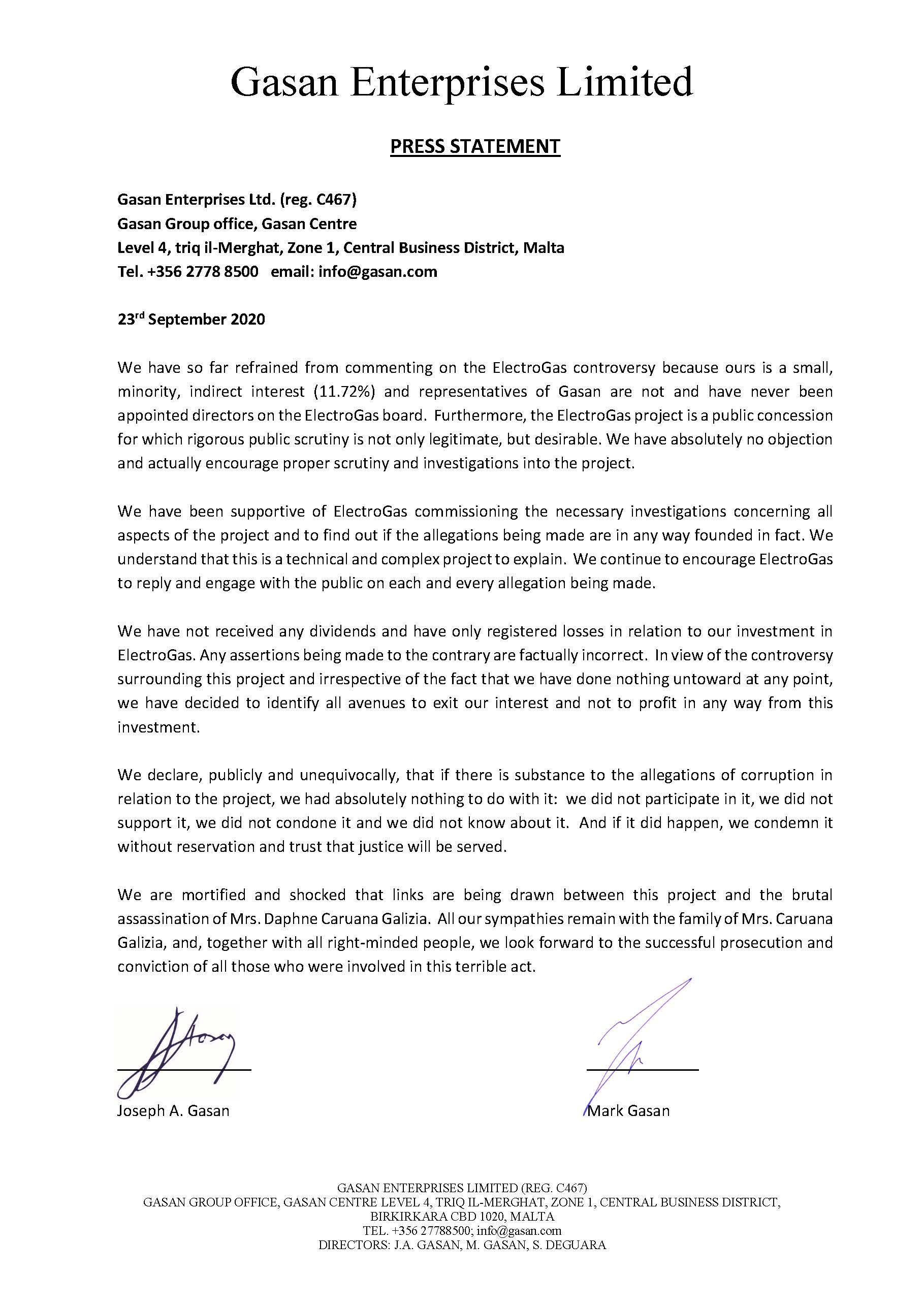 The Gasan Enterprises statement.