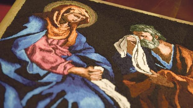 A replica in rice of Guercino's St Peter Weeping Before the Virgin. Photos: Jonathan Borg