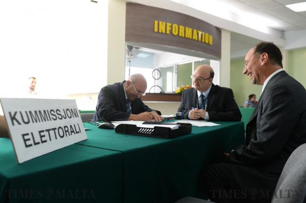 Godfrey Farrugia submits his nomination to contest the general election under the Partit Demokratiku banner, just hours after quitting the Labour Party, at the counting hall in Naxxar on May 13. Photo: Matthew Mirabelli