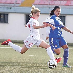 Alishia Sultana (left) during the match against Andorra in an international friendly match at the Centenary Stadium.