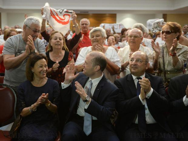 Senior citizen's greet Joseph Muscat during a rally at the City Theatre in Valletta on May 29. Photo: Matthew Mirabelli