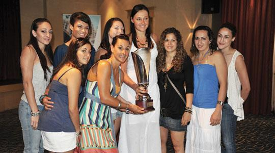 Members of the Malta women's team posing with the championship trophy yesterday.