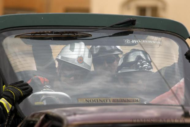 Civil Protection officers demonstrate how to extract an injured person from a wrecked car during an event organised by the Zejtun local council for youngsters to educate them about roadside safety and traffic flows, in Zejtun on April 23. Photo: Darrin Zammit Lupi
